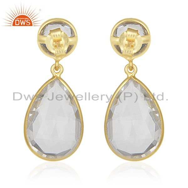 Suppliers Crystal Quartz Gemstone 925 Silver GOld Plated Dangle Earrings Wholesale India