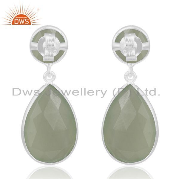 Suppliers Prehnite Chalcedony Gemstone 925 Sterling Silver Earring Manufacturer of Jewelry