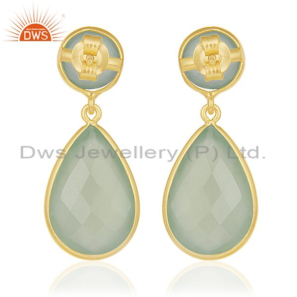 Green Chalcedony Gemstone 925 Sterling Silver With Gold Plated Drop Earrings From Jaipur India