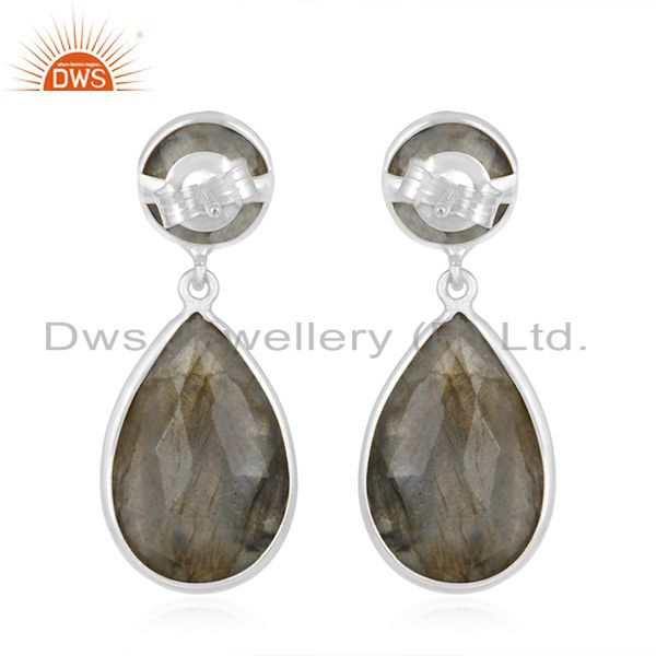 Suppliers Natural Labradorite Gemstone 925 Sterling Silver Drop Earring Manufacturers