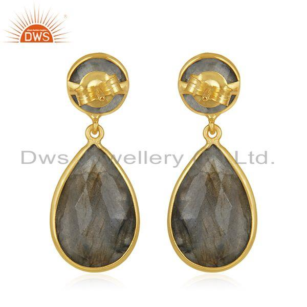 Suppliers Natural Labradorite Gemstone 925 Sterling Silver Gold Plated Earring Supplier
