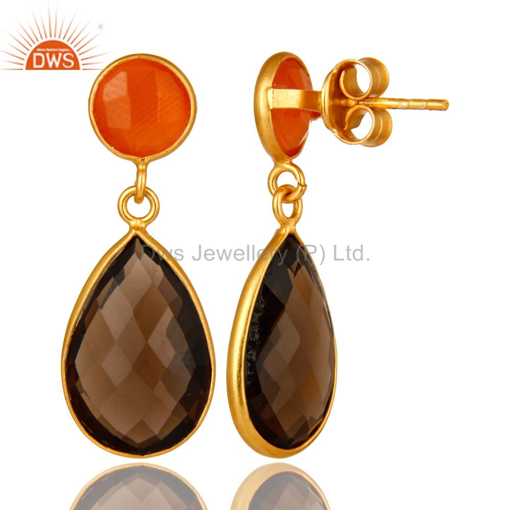 Suppliers 14K Gold Plated Sterling Silver Peach Moonstone And Smoky Quartz Drop Earrings