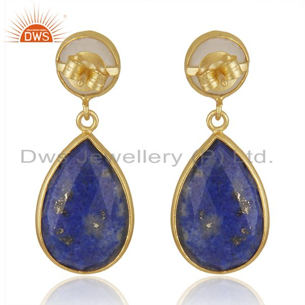 Suppliers 14K Gold Plated 925 Silver Lapis Lazuli & Moonstone Bezel Set Drops Earrings