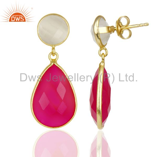 Suppliers 14K Gold Plated 925 Sterling Silver Moonstone & Pink Chalcedony Drops Earrings