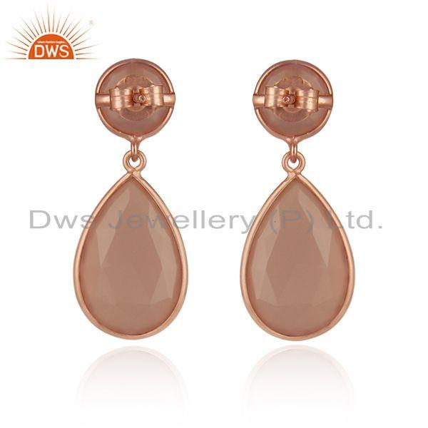 Suppliers Chalcedony Gemstone Rose Gold Plated 925 Silver Earrings Supplier