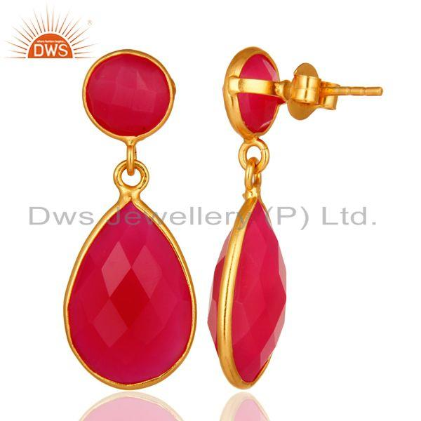 Faceted Dyed Pink Chalcedony Pear Shape 925 Silver Drop Earrings - Gold Plated From Jaipur India
