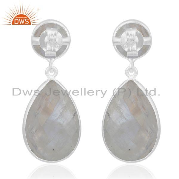 Suppliers Rainbow Moonstone 925 Sterling Silver Bezel Set Gemstone Earring Manufacturer