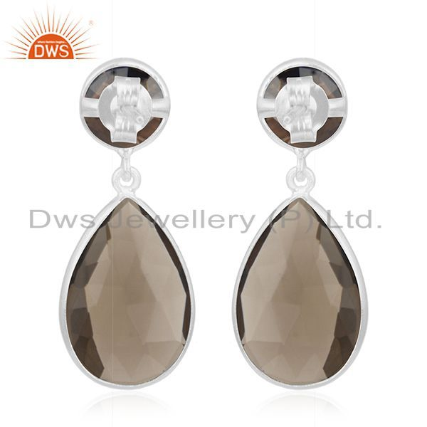 Suppliers Fine Sterling Silver Smoky Quartz Gemstone Earrings Manufacturer of Jewelry