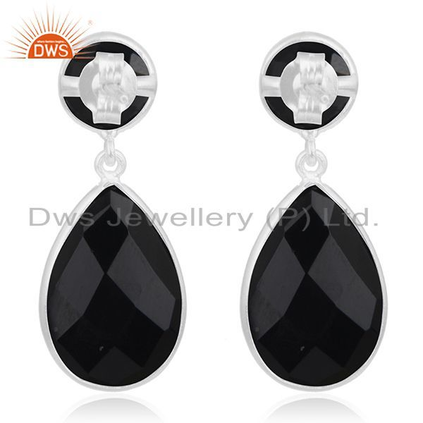 Suppliers Black Onyx Gemstone 925 Sterling Silver Simple Design Dangle Earring Manufacture
