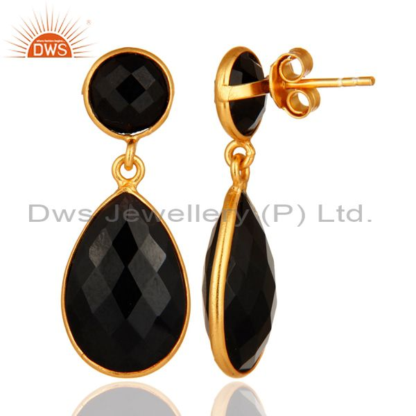 Suppliers 925 Sterling Silver Faceted Gold Plated Black Onyx Gemstone Drop Earrings