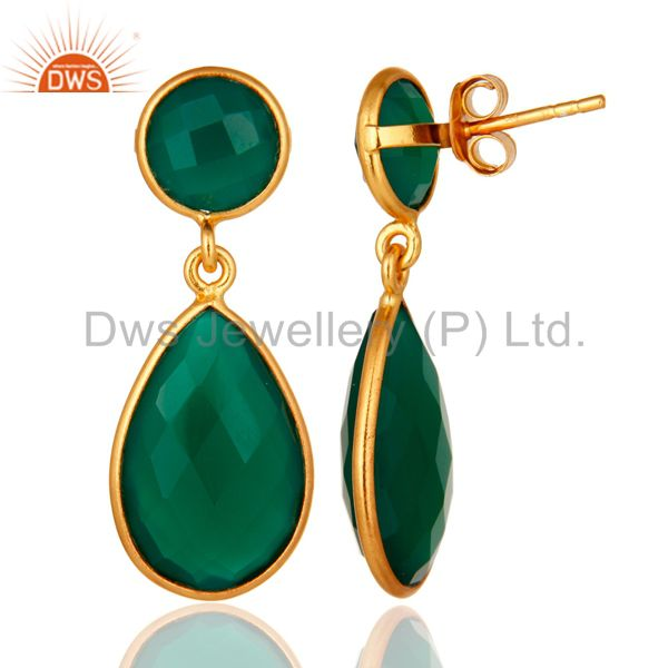 Suppliers Green Onyx Faceted Gemstone Teardrop Earrings - Gold Plated Sterling Silver