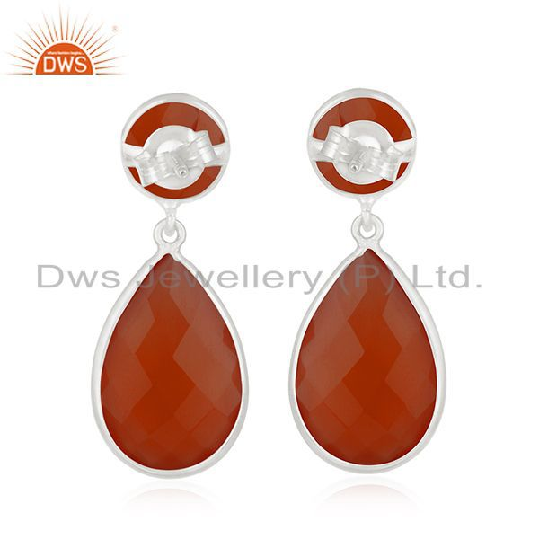 Suppliers Private Label 925 Sterling Silver Red Onyx Gemstone Earring Manufacturer