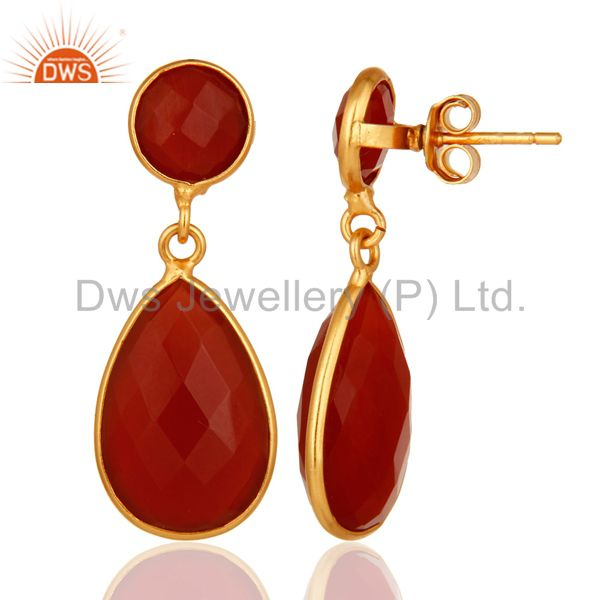 18K Gold Plated Sterling Silver Faceted Red Onyx Gemstone Double Drop Earrings From Jaipur India