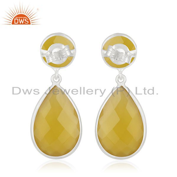 Suppliers Yellow Chalcedony Gemstone 925 Sterling Silver Dangle Earring Manufacturers
