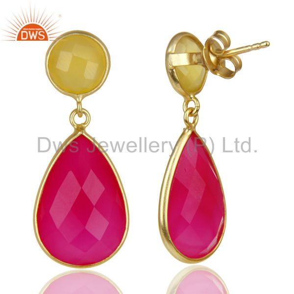Suppliers 14K Gold Plated 925 Sterling Silver Dyed Yellow Pink Chalcedony Drops Earrings