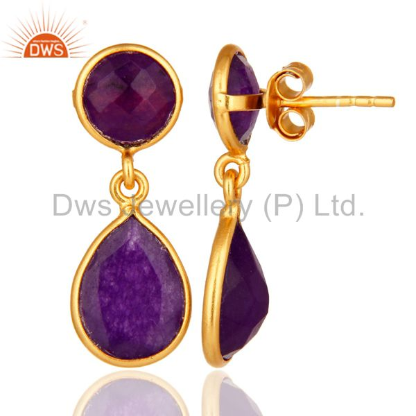 Purple Chalcedony Gemstone Sterling Silver Drop Earrings - Gold Plated From Jaipur India