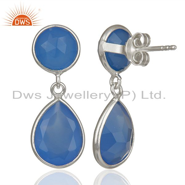Suppliers Blue Chalcedony Gemstone 925 Silver Drop Earrings Manufacturers