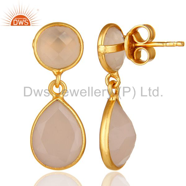 Suppliers 18K Yellow Gold Plated Silver Rose Chalcedony Bezel Set Drop Earrings