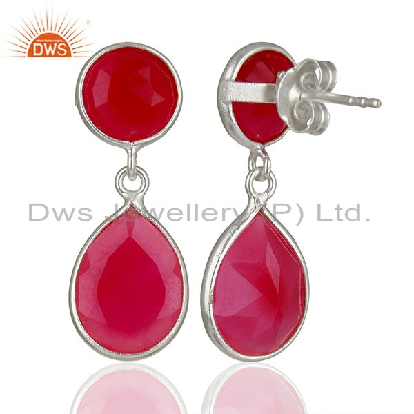Suppliers Pink Chalcedony Gemstone Sterling Silver Drop Earrings Supplier