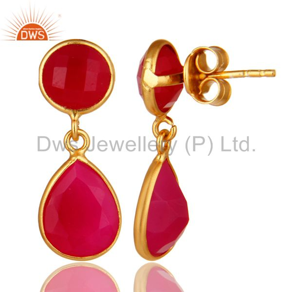 Suppliers 18K Yellow Gold Plated Sterling Silver Pink Chalcedony Bezel Set Drops Earrings
