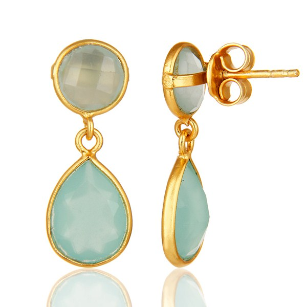 Suppliers 14K Gold Plated Sterling Silver Dyed Aqua Blue Chalcedony Bezel Set Drop Earring