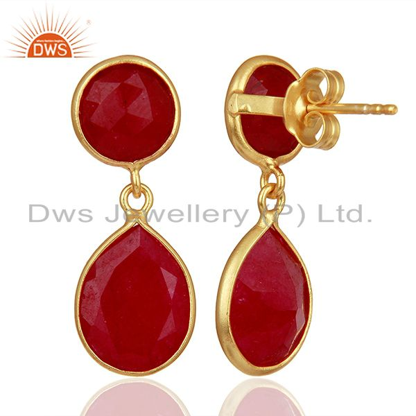 Suppliers Red Gemstone Gold Plated 925 Silver Drop Earrings Manufacturers