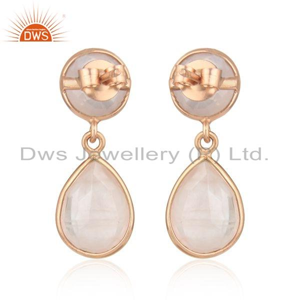 Suppliers Dangle Design Rose Gold Plated Silver Rose Quartz Earrings Jewelry
