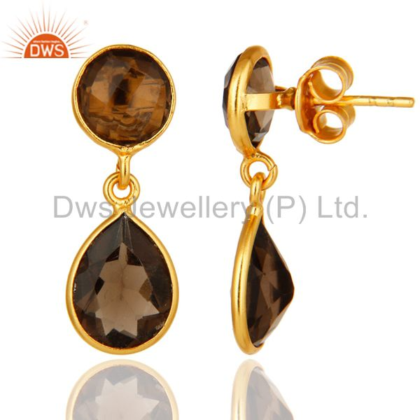 Suppliers 18K Yellow Gold Over Sterling Silver Smoky Quartz Drop Earrings