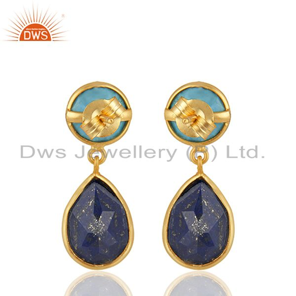 Suppliers Multi Gemstone Bezel Setting 925 Silver Gold Plated Earrings Wholesale