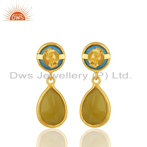Suppliers Turquoise and Yellow Chalcedony Gemstone 925 Silver Earrings Wholesale