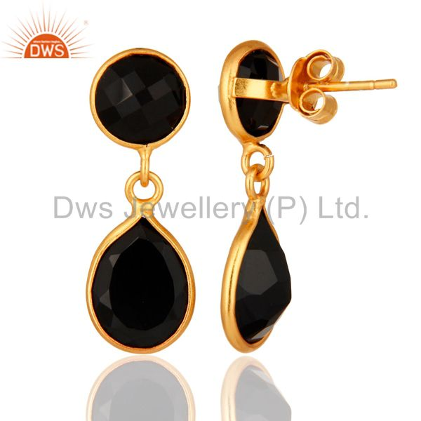 22K Yellow Gold Plated Black Onyx 925 Sterling Silver Gemstone Drop Earrings From Jaipur India