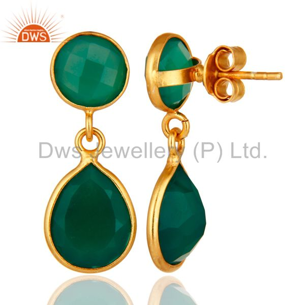 Suppliers 14-Karat Gold Plated Sterling Silver Green Onyx Gemstone Drop Earrings