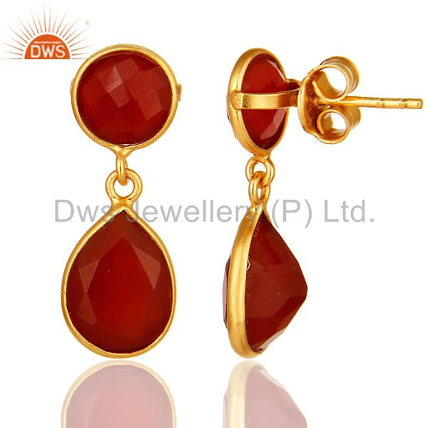 Suppliers 14K Yellow Gold Plated Sterling Silver Red Onyx Bezel Set Gemstone Drop Earrings
