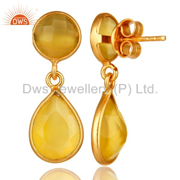 Suppliers Bezel Set Yellow Moonstone Double Drop Earrings In 18K Yellow Gold Over Silver