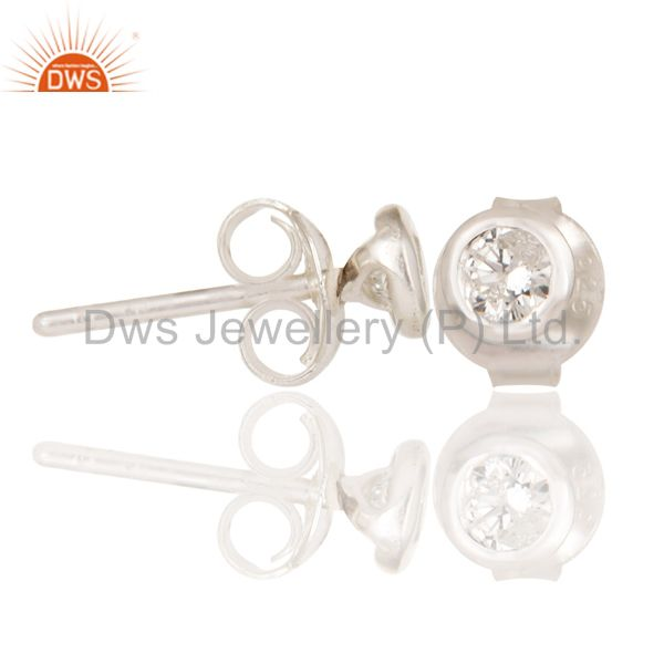 Suppliers Little Handmade Art Deco Solid 925 Sterling Silver Round Diamond Studs Earrings