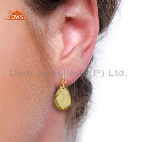 Suppliers 18K Yellow Gold Plated Sterling Silver Lemon Topaz Drop Earrings With White Topa