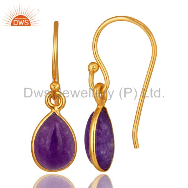 Suppliers Handmade Sterling Silver Purple Aventurine Drop Earrings With Gold Plated