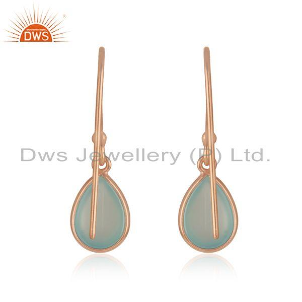 Suppliers Aqua Chalcedony 14k Rose Gold Plated 925 Silver Gemstone Drop Earrings Wholesale