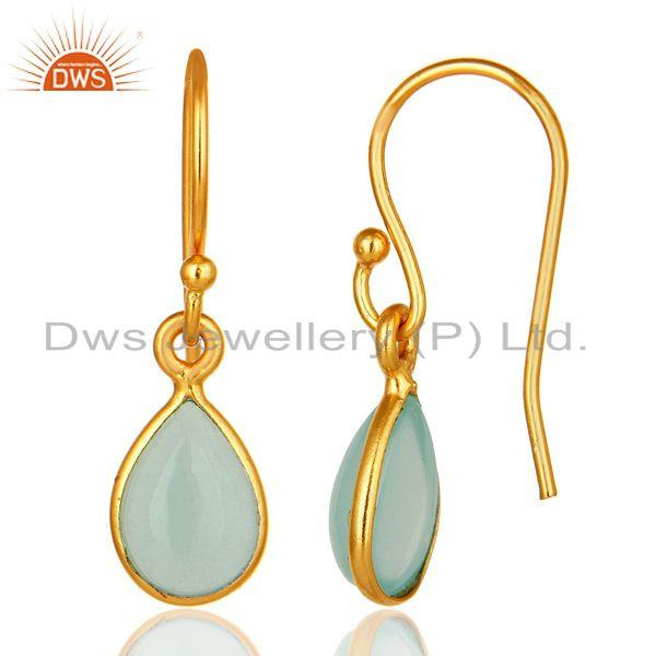 Designers Aqua Blue Glass Chalcedony Bezel Set Drop Earrings Made In 18K Gold Over Silver