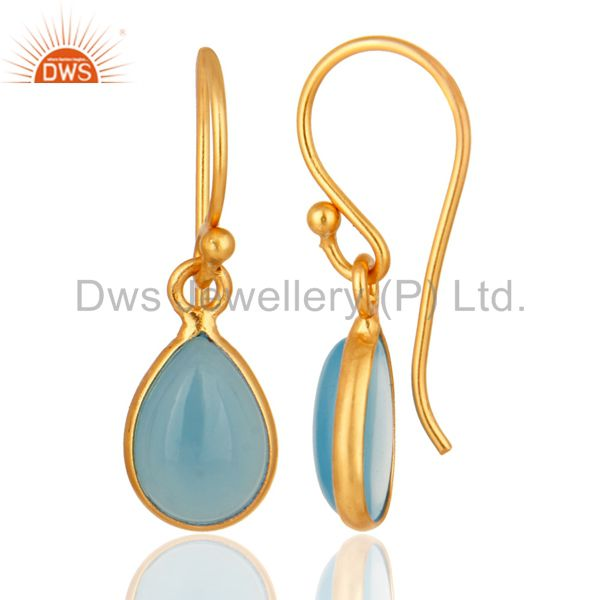 Suppliers 18K Yellow Gold Plated Solid Silver Aqua Chalcedony Bezel Setting Drop Earrings