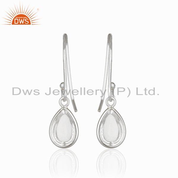Suppliers Crystal Quartz 925 Sterling Fine Silver Simple Drop Earrings Manufacturer India