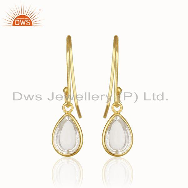 Suppliers 14k Gold Plated 925 Silver Crystal Quartz Baby Girls Earrings Wholesale