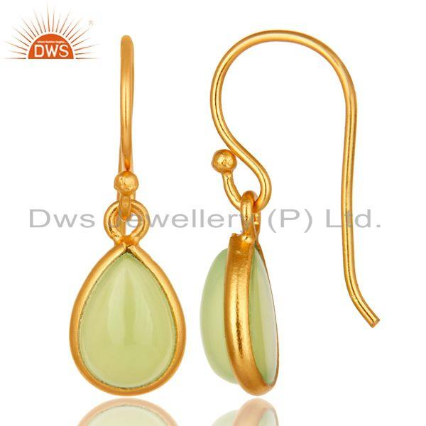 Suppliers 18K Yellow Gold Plated Sterling Silver Dyed Chalcedony Gemstone Drop Earrings