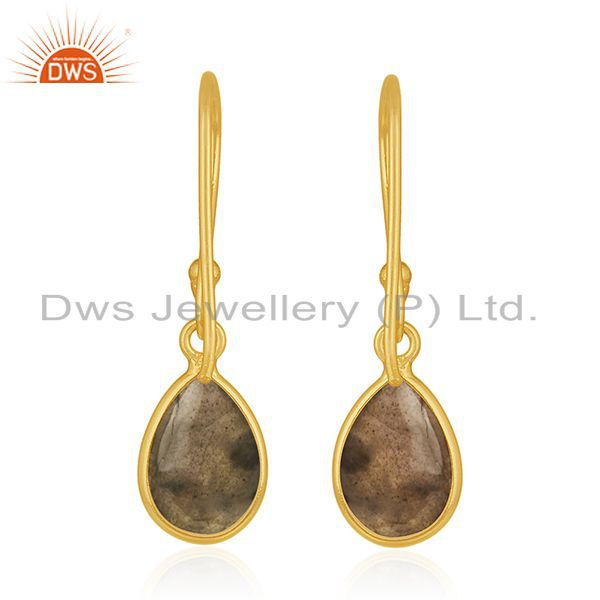 Suppliers Natural Labradorite Gemstone Gold Plated 925 Silver Simple Drop Earring Supplier