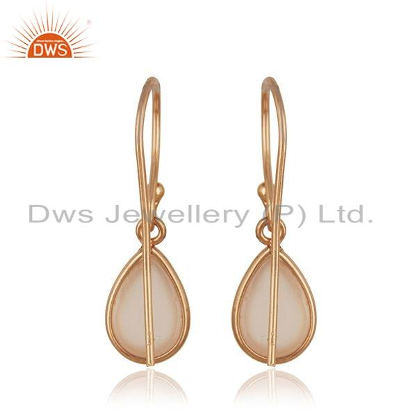 Suppliers Rose Gold Plated 925 Silver Rose Chalcedony Gemstone Earrings Jewelry