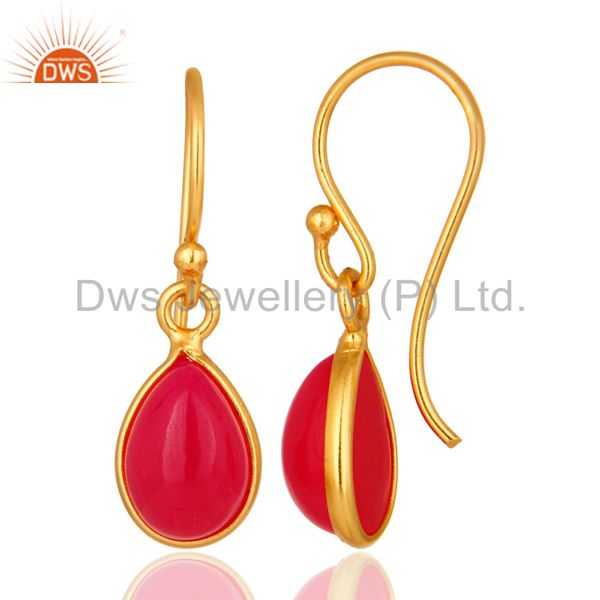 Suppliers Natural Pink Aventurine Gemstone Drop Earrings In 14K Gold Over Sterling Silver
