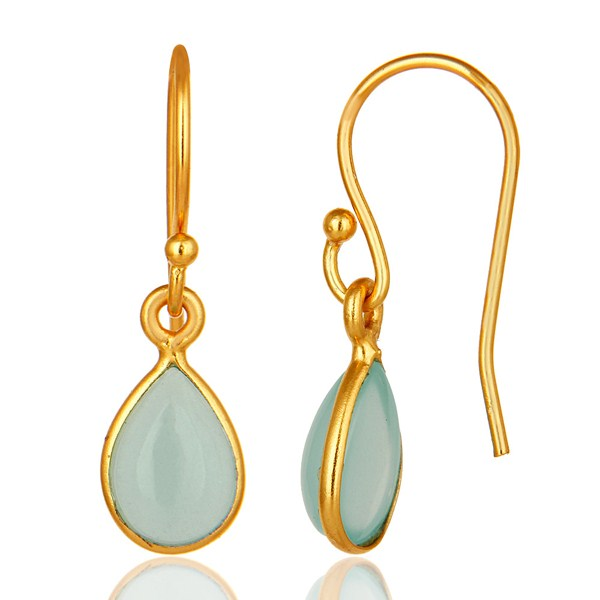 Suppliers Aqua Blue Glass Chalcedony Bezel Set Drop Earrings Made In 18K Gold Over Silver