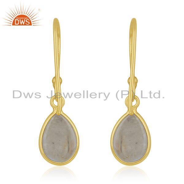 Suppliers 92.5 Sterling Silver Gold Plated Rainbow Moonstone Drop Earring Manufacturer