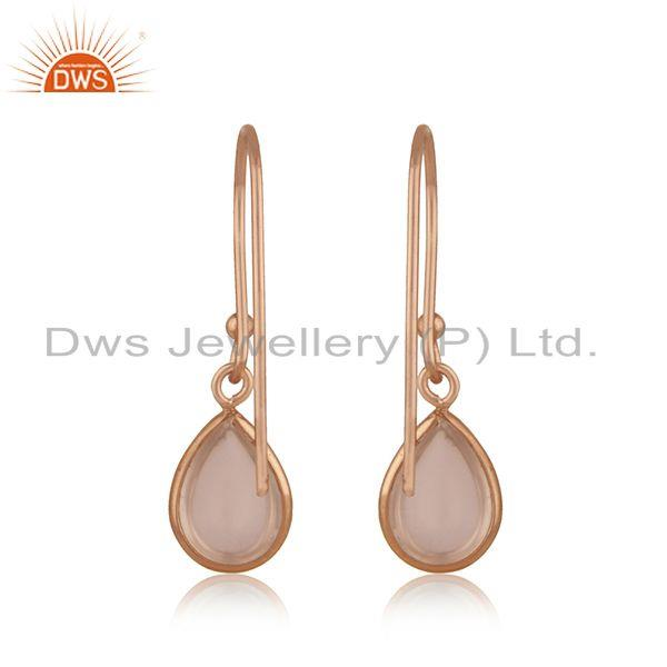 Suppliers Rose Quartz Gemstone 925 Silver Rose Gold Plated Designer Earring Jewelry