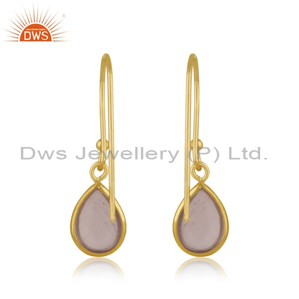 Suppliers Rose Quartz Gemstone Yellow Gold Plated 925 Sterling Silver Earring Jewelry
